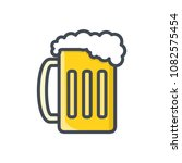 beer glass colored beverage... | Shutterstock . vector #1082575454