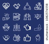 set of 16 hands outline icons... | Shutterstock .eps vector #1082576558