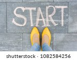 word start on the asphalt and... | Shutterstock . vector #1082584256