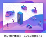 cloud data storage 3d isometric ... | Shutterstock .eps vector #1082585843
