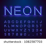 set of letters in neon style.... | Shutterstock .eps vector #1082587703