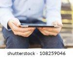 businessman using tablet... | Shutterstock . vector #108259046