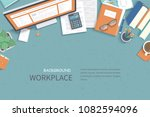 business workplace desktop... | Shutterstock .eps vector #1082594096
