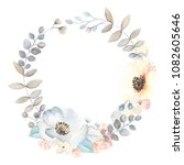 floral wreath with flowers... | Shutterstock .eps vector #1082605646