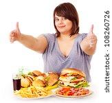 happy overweight woman eating...   Shutterstock . vector #108260726
