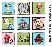 set of christianity symbols  ... | Shutterstock .eps vector #108260858