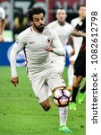 Small photo of MILAN, ITALY-MAY 07, 2017: AS Roma's egyptian soccer player, Momamed Salah, in action during the italian league match AC Milan vs AS Roma, at the san siro stadium, in Milan.