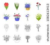 a bouquet of fresh flowers... | Shutterstock .eps vector #1082613413