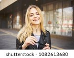 shop window  young woman  walk... | Shutterstock . vector #1082613680