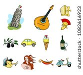 country italy cartoon icons in... | Shutterstock .eps vector #1082616923