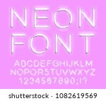 set of letters in neon style.... | Shutterstock .eps vector #1082619569