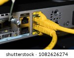 yellow lan cable connect to... | Shutterstock . vector #1082626274