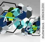3d hexagon geometric... | Shutterstock .eps vector #1082631203