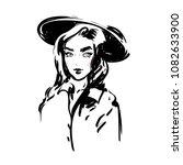 beautiful woman in hat vector... | Shutterstock .eps vector #1082633900