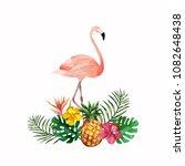 tropical garden watercolor... | Shutterstock .eps vector #1082648438