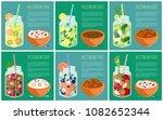 set of posters vegetarian food...   Shutterstock .eps vector #1082652344