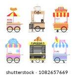 street food mobile carts. soft... | Shutterstock .eps vector #1082657669