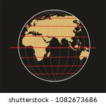 geographic coordinate system of ... | Shutterstock . vector #1082673686