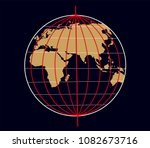 geographic coordinate system of ... | Shutterstock . vector #1082673716