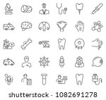 thin line icon set   injury... | Shutterstock .eps vector #1082691278