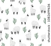 seamless lama and cactus... | Shutterstock .eps vector #1082699636