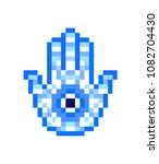 blue hamsa hand with nazar ... | Shutterstock .eps vector #1082704430
