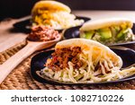 different types of arepas  meat ...   Shutterstock . vector #1082710226