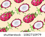 tropical fruits with leaves   Shutterstock . vector #1082710979