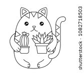 cute cat with house plant... | Shutterstock .eps vector #1082718503