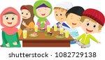happy muslim boys and girls...   Shutterstock .eps vector #1082729138