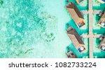 aerial top view water villa at...   Shutterstock . vector #1082733224