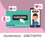 smartphone with woman on screen ... | Shutterstock .eps vector #1082736950