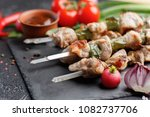 delicate shish kebab from pork...