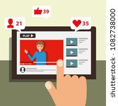 hand touching screen mobile... | Shutterstock .eps vector #1082738000