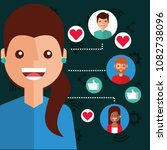 smiling woman viral content... | Shutterstock .eps vector #1082738096