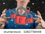 cyber security concept between... | Shutterstock . vector #1082758448
