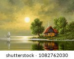 oil paintings rural landscape.... | Shutterstock . vector #1082762030