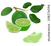 lime with leaves and slices... | Shutterstock . vector #108276596
