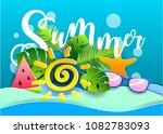 vector summer poster. paper cut ... | Shutterstock .eps vector #1082783093
