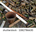 stack of old firewood | Shutterstock . vector #1082786630