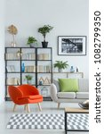 modern  orange  upholstered... | Shutterstock . vector #1082799350