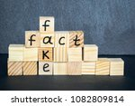 words fake and fact written on... | Shutterstock . vector #1082809814