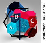 3d hexagon geometric... | Shutterstock .eps vector #1082815703