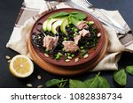 pasta with cuttlefish ink ... | Shutterstock . vector #1082838734