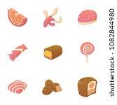 tasty candy icons set. cartoon... | Shutterstock . vector #1082844980