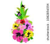 pineapple with hawaiian flowers ... | Shutterstock .eps vector #1082856554