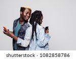 side portrait of african couple ... | Shutterstock . vector #1082858786