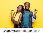 portrait of a happy young afro... | Shutterstock . vector #1082858810