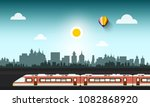 modern train in abstract city   Shutterstock .eps vector #1082868920