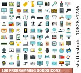 100 programming goods icons set ... | Shutterstock . vector #1082874236